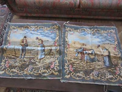 A Pair Of Lovely Vintage French Woven  Tapestry Squares Of Courbet Paintings