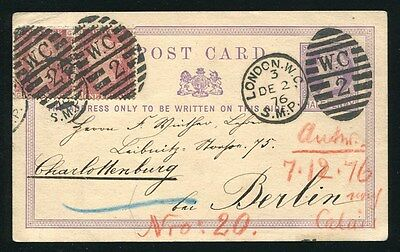 Great Britain Victoria Stationery Postcard London To Penny Red Berlin 1876