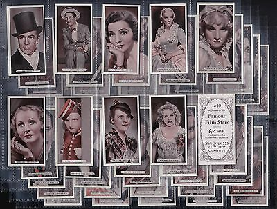 """Ardath, Famous Film Stars, Set Of 50 Issued In 1934 """"vg/excellent Condition"""""""