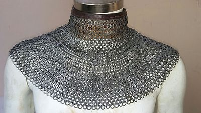 Chainmail Coller 8 MM WEDGE Riveted MS with Leather - OIL Finish Medieval Armor