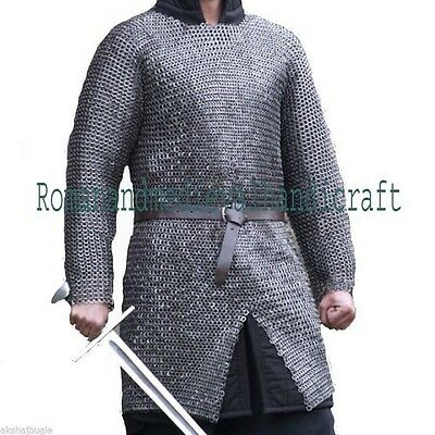 9Mm Chainmail Shirt Hauberk  Large Flat Riveted With Washer Oiled Medieval