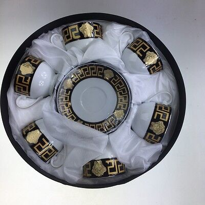 Coffee/Tea Cups & Saucers Set of 12 Pieces Black & Gold Ornament