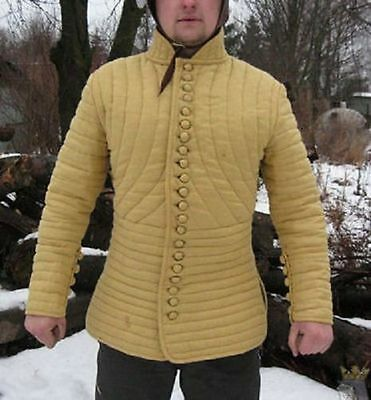 Medieval Gambeson Medieval Padded collar full sleeves Thick yellow color