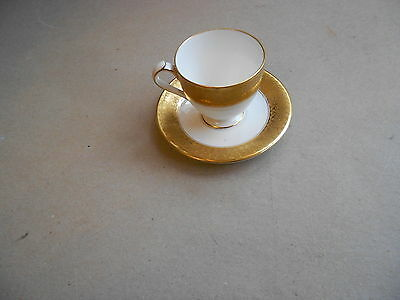 Royal Crown Derby gold decorated cup and saucer