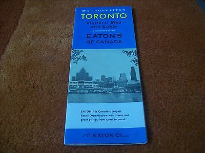 TORONTO CANADA vintage map / visitors map & guide 1950`s?.. t eaton co