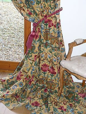 """ZOFFANY CURTAINS HeavyUnion Linen POMPADOUR French BAROQUE Chic Ea 103""""W 104""""D"""