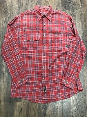 Mens Timberland Red Blue Yellow Checked Long Sleeve Cotton Shirt - Size Small