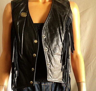 Vintage 60's Leather Vest Ladies Small Fringed Snap Front Laced Motorcycle Vest