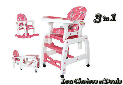 Baby High Chair Rocking Feeding Seat Table Set 3 in 1 Toddler Adjustable Rest