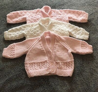 Bundle of Three Hand Knitted Baby Girl's Cardigans 0-3 Months Unworn