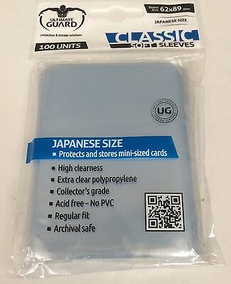 Ultimate Guard Japanese Small Size Soft Trading Card Sleeves - 100 Pack - Clear