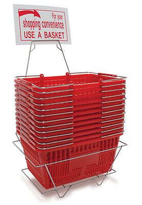 Plastic Shopping Basket Retail Grocery Store Stand Sign Holder Lot of 12 Red NEW