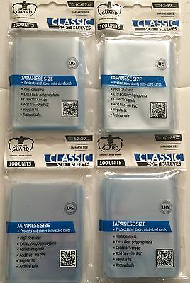 4x Packs - Ultimate Guard Japanese Small Size Soft Card Sleeves - Clear - 400
