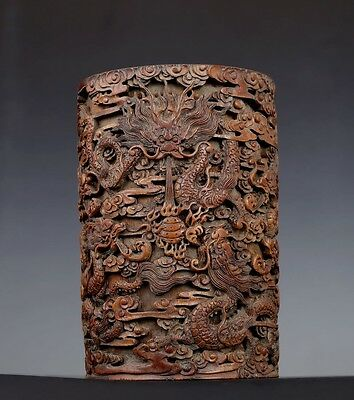 Rare Old Chinese Hand Carving Dragons Bamboo Brush Pot Collection