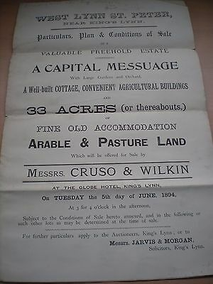 Particulars / Plan & Conditions Of Sale Of A Capital Messuage In 1894 In Norfolk