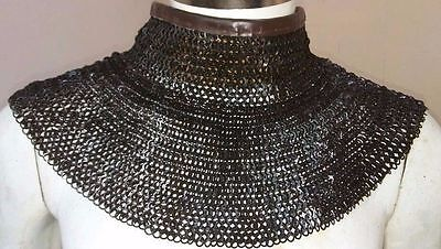 Chainmail Coller 6 MM Flat Riveted MS with Leather -black Finish Medieval Armor