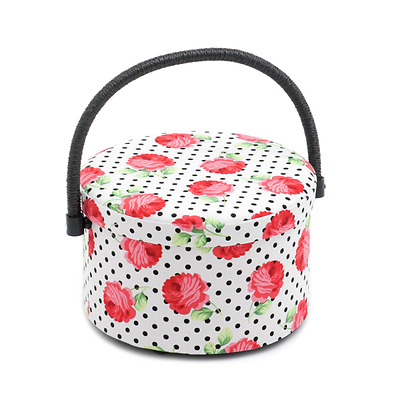 Scarlette Collection Floral Polka Dot Round Sewing Basket Sewing Accessories