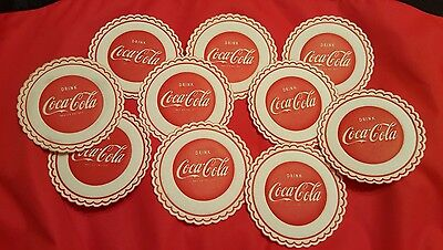 VINTAGE COCA-COLA PAPER DRINK COASTERS SET OF 10 - OLD - from 1960's