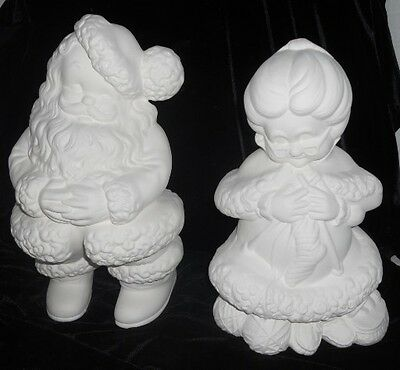 C-0270 Large Winking Mr. & Mrs. Santa Claus Ceramic Bisque Ready to Paint