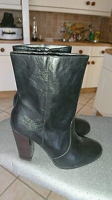 Ladies New 3/4 Length Ankle Boots Black Leather New Size 5