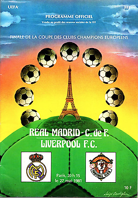 ORIGINAL 1981 European Cup final programme: Liverpool v Real Madrid: Paris
