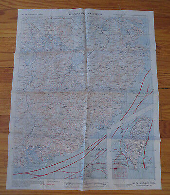 WWII ESCAPE MAP AAF CLOTH SILK CHART No. 34 & 35 NORTHEAST SOUTHEAST CHINA