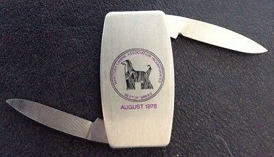1978-ZIPPO-Pocket Knife/w AFGHAN DOG engraving Exc. Condition