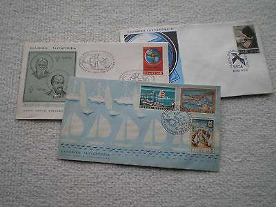 Fdc Stamps Hellas Greece X 3 Different 1968 1969 1972