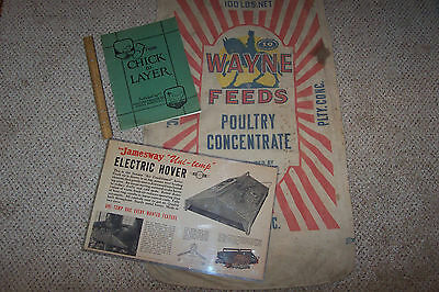 Old Wayne Poultry Feed Sack Chick Book Hover Poster Country Chicken Farm Bag