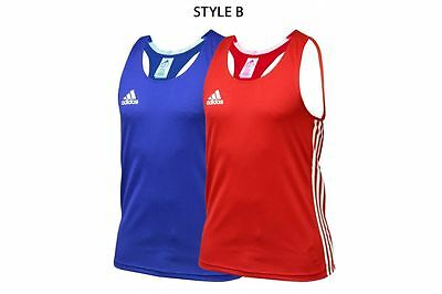 Adidas Competition AIBA Boxing Vest Low Neck Style ABA Top Blue Red Mens Women's