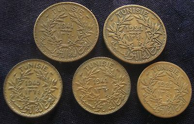 Tunisia 5 lot coins brass token issue 1,2 Francs , 1926,41,45 F-AU #391