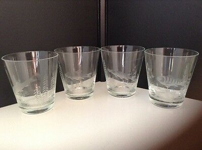 4 Beautiful  Etched Vintage Tumblers of Freshwater Fish