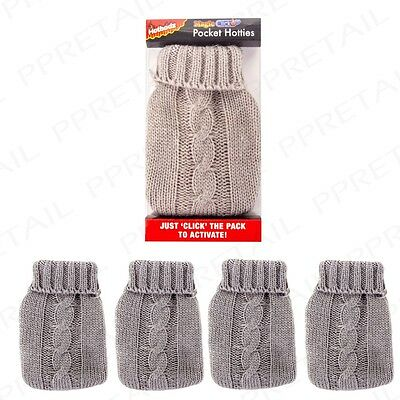 4 x REUSABLE KNITTED POCKET HOTTIE Click To Heat Winter Glove Hand Warmer Pad