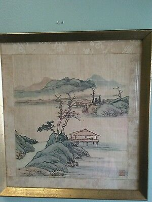 19Th Century Chinese Silk Painting Panoramic Red Seal