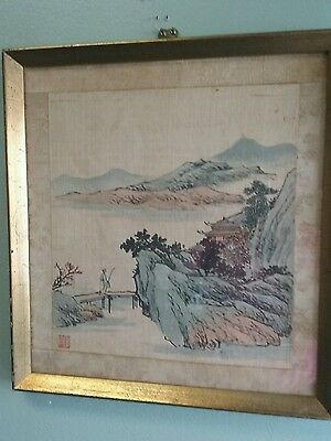 19Th Chinese  Silk  Panoramic Painting Artist Red Seal