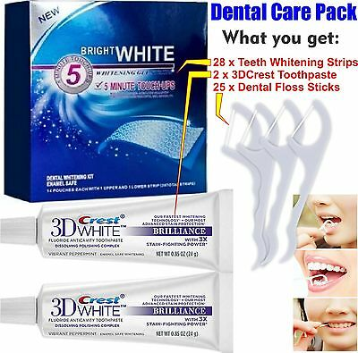 Brilliance Crest3D Teeth Whitening Toothpaste + 28 White Strips + 25 Floss Stick