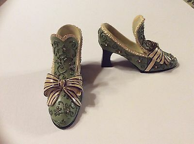 2 pc Home Interior green  jeweled Victorian shoes