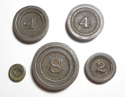 ANTIQUE MERCHANTILE BALANCE SCALE WEIGHTS.  CAST IRON. 5 WEIGHTS w/NUMBERS