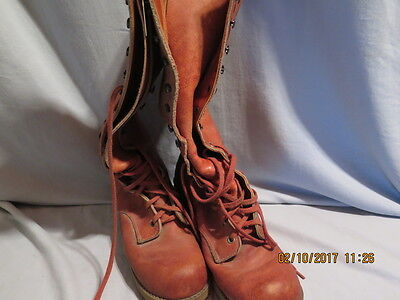 Vintage 70's Lace Up Hippie Boots - Tall Leather JCPenney Boots  size 10 M