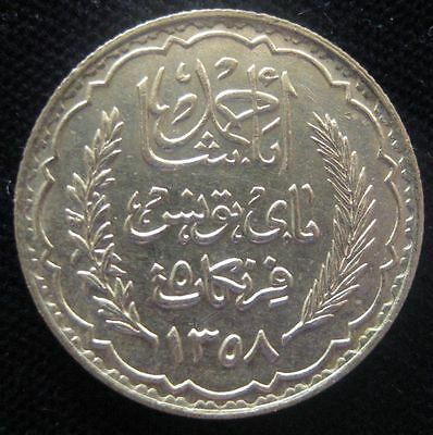 Tunisia 5 Franc  1939 XF cleaned #395