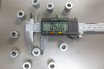 """Aluminum Bolt Spacers 1/2"""" OD  1/4"""" ID Lot of 10  Made in the USA .54"""" High"""