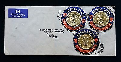 3 Sierra Leone Coin Stamps On 1966 Air Mail Cover To Uk From Fourah Bay College