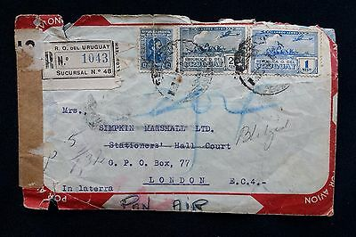 1941 Registered Air Mail Cover Uruguay To Uk With Oval New York Foreign Cancel