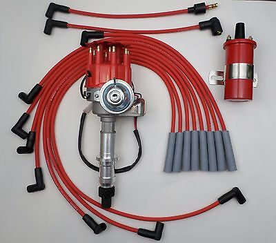 PONTIAC 350-389-455 RED Small Cap HEI DISTRIBUTOR + RED 45K COIL + PLUG WIRES