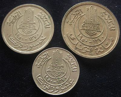 Tunisia lot of 3 coins 1950  20,50,100 Francs VF-XF #400