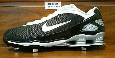 official photos ddcc8 f26c1 New NIKE Shox Fuse Low Metal Baseball Cleats Mens Size 16 Black White  317029-012