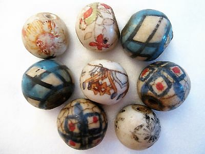 Loose beads. 8 Handmade vintage ceramic beads. 18mm x 17mm