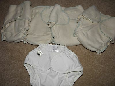 4 Organic Cotton/Hemp Cloth Diaper and 1 Cover - size Large