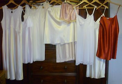 Vintage Job Lot Of 12 Full Slips Half Slips + Nighties  Sz L-Xl 14-22