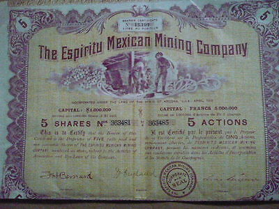 MEXICO : TITLE of 5 SHARES: TGE ESPIRITU MEXICAN  1910  / COUPONS
